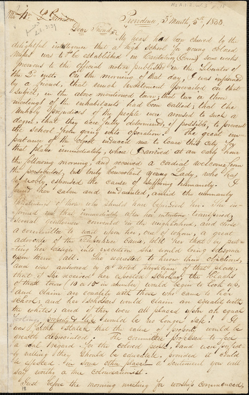 Letter from George William Benson and Henry Egbert Benson, Providence, [Rhode Island], to William Lloyd Garrison, 1833 [March] 5th