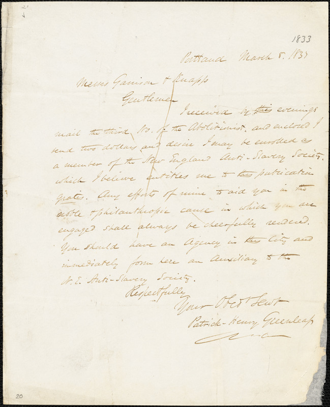 Letter from Patrick Henry Greenleaf, Portland, [Maine], to William Lloyd Garrison and Isaac Knapp, 1833 March 8