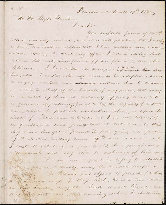 Letter from George William Benson, Providence, [Rhode Island], to William Lloyd Garrison, 1833 [March] 19th