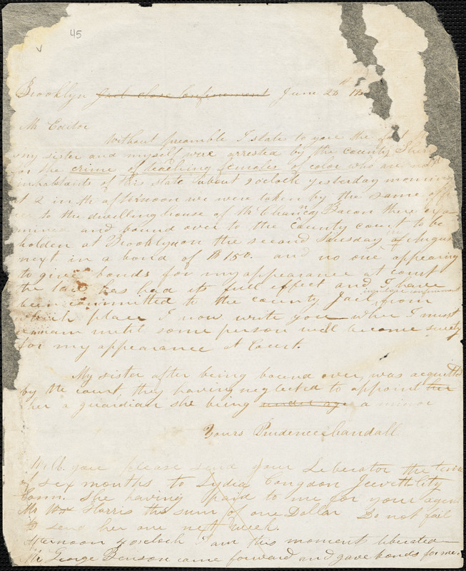 Letter from Prudence Crandall, Brooklyn, [Connecticut], to William Lloyd Garrison, 18[33] June 28th