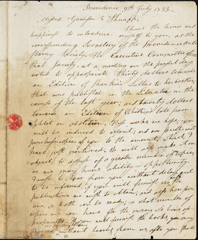 Letter from Thomas Williams and Henry Egbert Benson, Providence, [Rhode Island], to William Lloyd Garrison and Isaac Knapp, 1833 July 9th