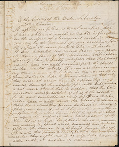 Letter from Samuel N. Sweet, Adams, Jefferson County, N[ew] Y[ork], to William Lloyd Garrison, 1833 Sept[ember] 6