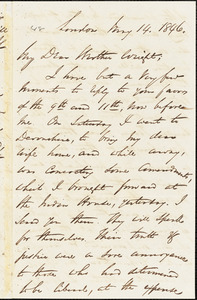 Letter from George Thompson, London, [England], to Henry Clarke Wright, 1846 May 14