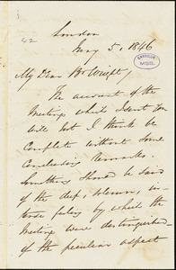 Letter from George Thompson, London, [England], to Henry Clarke Wright, 1846 May 6