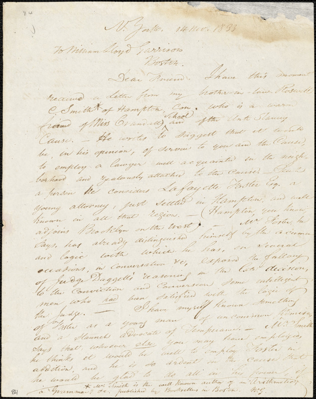 Letter from William Goodell, N[ew] York, [New York], to William Lloyd Garrison, 1833 Nov[ember] 14