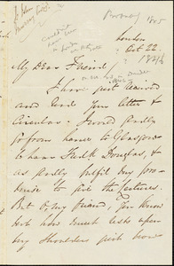 Letter from George Thompson, London, [England], to William Smeal, [1845?] Oct[ober] 22