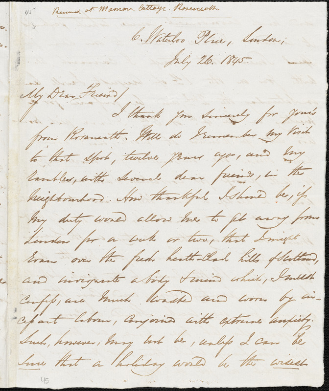 Letter from George Thompson, London, [England], to Henry Clarke Wright, 1845 July 26th