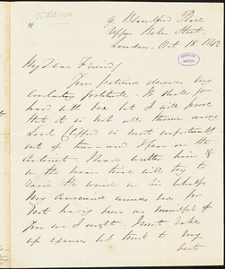 Letter from George Thompson, London, [England], to Richard Davis Webb, 1842 Oct[ober] 18