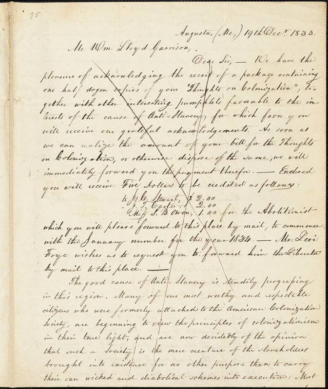 Letter from Emery Brown, Augusta, M[ain]e, to William Lloyd Garrison, 1833 Dec[embe]r 19th
