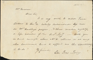 Letter from Ellis Gray Loring to William Lloyd Garrison, [1833]