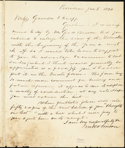 Letter from Martin Robinson and Henry Egbert Benson, Providence, [Rhode Island], to William Lloyd Garrison and Isaac Knapp, 1834 Jan[uary] 6