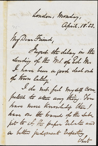 Letter from George Thompson, London, [England], to Richard Davis Webb, 1853 April 18