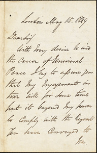 Letter from George Thompson, London, [England], to J.R. Baillie, 1849 May 15