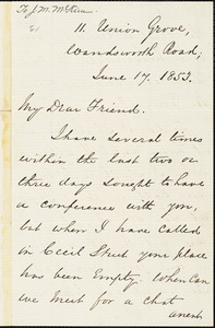 Letter from George Thompson, London, [England], to James Miller M'Kim, 1853 June 17
