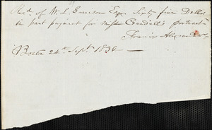 Letter form Francis Alexander, Boston, [Massachusetts], to William Lloyd Garrison, 1834 Sept[ember] 24th