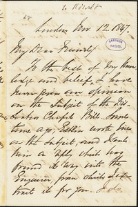 Letter from George Thompson, London, [England], to Richard David Webb, 1847 Nov[ember] 12