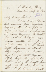 Letter from George Thompson, London, [England], to Richard David Webb, 1846 July 21