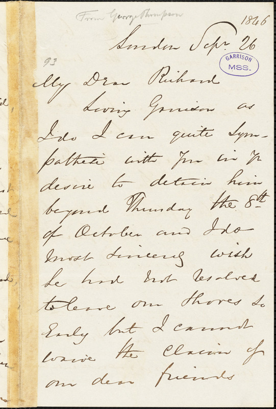 Letter from George Thompson, London, [England], to Richard David Webb, 1846 Sep[tember] 26