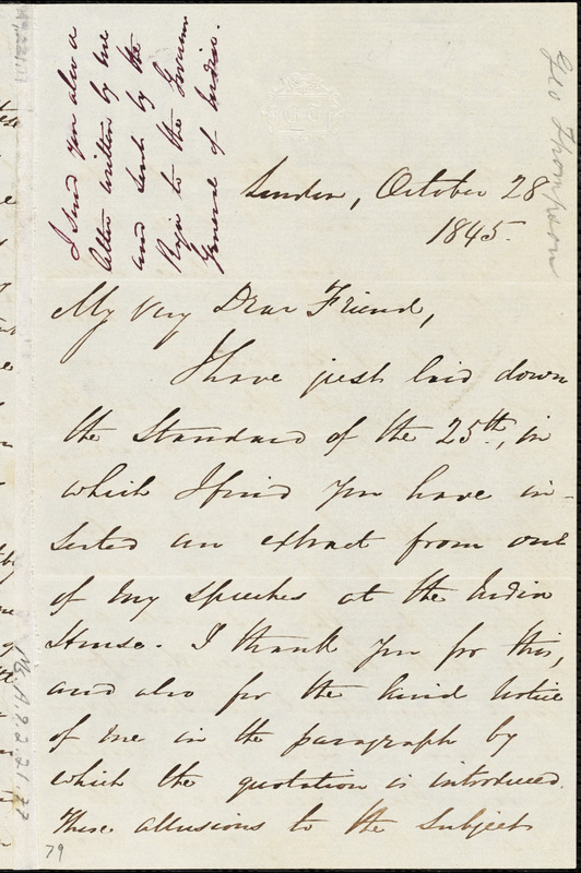 Letter from George Thompson, London, [England], to Maria Weston Chapman, 1845 October 28