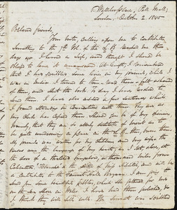 Letter from George Thompson, London, [England], to Maria Weston Chapman, 1845 October 2