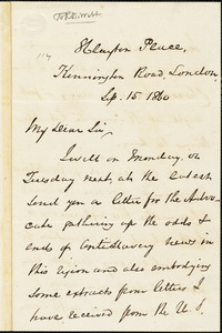 Letter from George Thompson, London, [England], to Richard David Webb, 1860 Sep[tember] 15