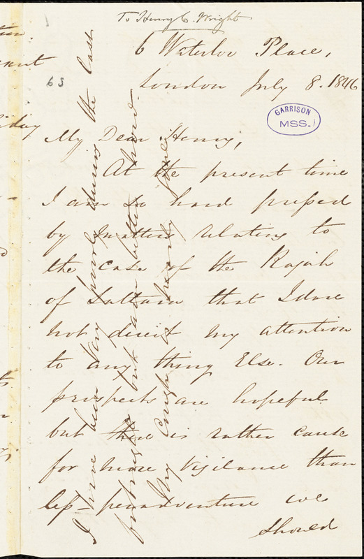 Letter from George Thompson, London, [England], to Richard David Webb, 1846 July 8