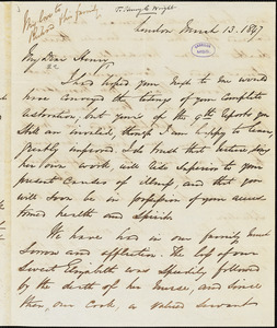 Letter from George Thompson, London, [England], to Henry Clarke Wright, 1847 March 13