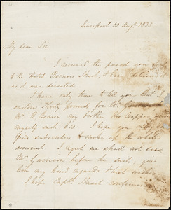 Letter from Edward Cropper, Liverpool, [England], 1833 Aug[ust] 10