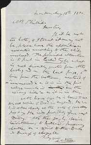 Letter from Calvin Ellis Stowe, London, [England], to Moses Dresser Phillips, 1856 Aug[ust] 18