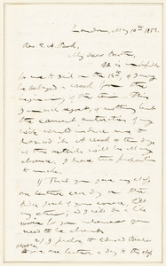 Letter from Calvin Ellis Stowe, London, [England], to Edwards Amasa Park, 1853 May 10
