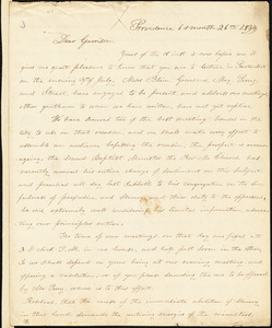 Letter from George William Benson, Providence, [Rhode Island], to William Lloyd Garrison, 1834 [June] 26th