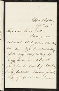 Letter from Elizabeth J. Massie, Upper Clapton [England], to Mary Anne Estlin, [Year of publication unknown] Sept[ember] 24