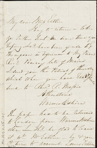 Letter from Isabella Massie to Mary Anne Estlin, 1851 Sept[ember] 27