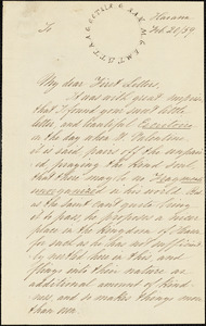 Letter from Theodore Parker, Havana, [Cuba], 1859 Feb[ruary] 20