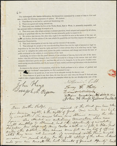 Letter from Elizur Wright, Hudson, [Ohio], to Amos Augustus Phelps, Aug[ust] 31