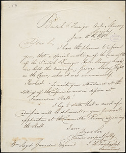 Letter from British and Foreign Anti-slavery Society, [London, England], to William Lloyd Garrison, 1840 June 18th