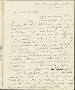 Letter form Elizur Wright, New York, [New York], to Maria Weston, 1837 Sept[ember] 15