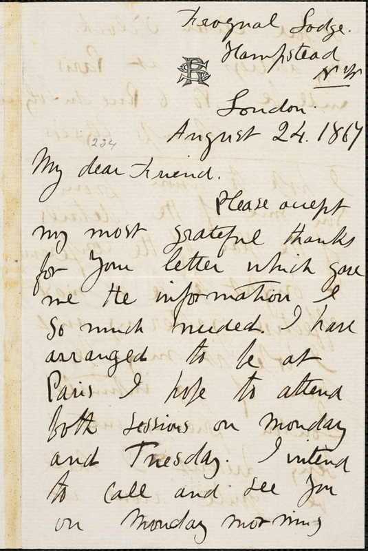 Letter from Sarah Parker Remond, London, [England], to William Lloyd Garrison, 1867 August 24