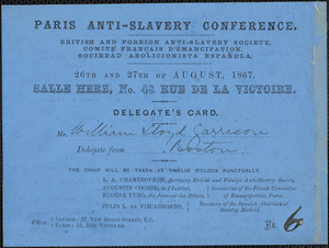 Letter from Anti-Slavery Conference, [Paris, France], to William Lloyd Garrison, 1867 August 26-27