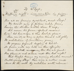 Poem: To Sleep, written after a night's incarceration in prison from William Lloyd Garrison