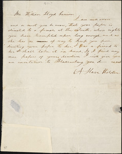Letter from A Slave Holder, Camden Court House, N[orth] C[arolina], to William Lloyd Garrison