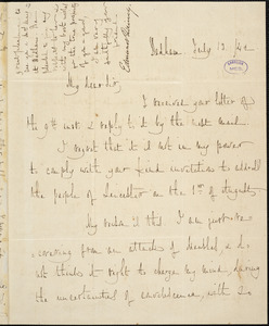 Letter form Edmund Quincy, Dedham, [Massachusetts], to Samuel May, [18]42 July 13