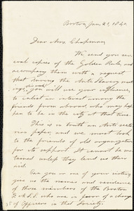 Letter from A.B. Ordway, Boston, [Massachusetts], to Maria Weston Chapman, 1840 Jan[uary] 21