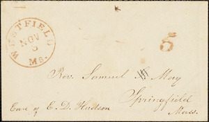 Letter from Julia S. Webb and H.C. Arnold, Westfield, [Massachusetts], to Samuel May, [18]49 Nov[ember] 3d