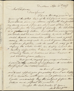 Letter from Ann Mary Houghton, Dedham, [Massachusetts], to Maria Weston, 1839 April 15