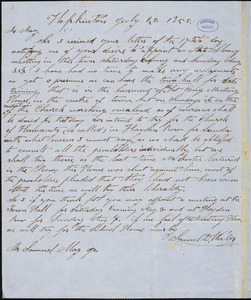 Letter from Samuel D. Wales, Hopkinton, [Massachusetts], to Samuel May, 1850 July 20