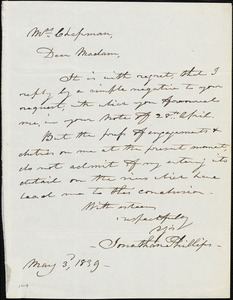 Letter from Jonathan Phillips to Maria Weston Chapman, 1839 May 3