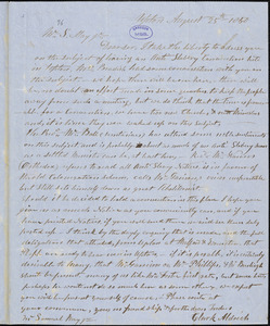 Letter from Clark Aldrich, Upton, [Massachusetts], to Samuel May, 1850 August 25th