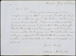 Letter from Addison G. Smith, Berlin, [Massachusetts], to Samuel May, 1851 July 15th
