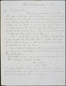Letter from Lucy Stone, West Brookfield, [Massachusetts], to Samuel May, 1851 Aug[ust] 5